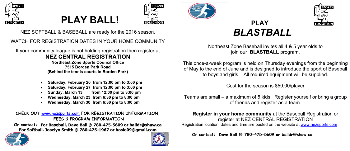 Baseball sign up spring 2016